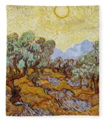 Olive Trees With Yellow Sky And Sun Fleece Blanket