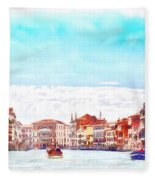 On A Boat Trip On The Grand Canal In The Beautiful City Of Venice In Italy Fleece Blanket