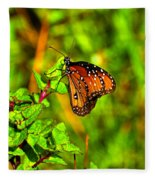 Orange Butterfly Too Fleece Blanket