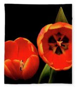 Orange Tulip Macro Fleece Blanket