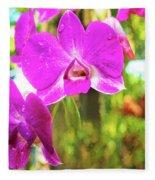 Orchid Oil Painting Fleece Blanket