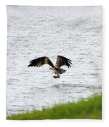 Osprey Fishing In The Afternoon Fleece Blanket