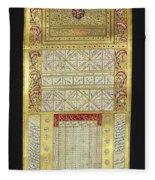 Ottoman Calendar, 19th Century Fleece Blanket