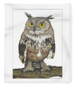 Owl In Pose Fleece Blanket