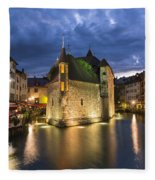 Palais De L'isle And Thiou River In Annecy Fleece Blanket