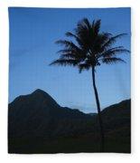 Palm And Blue Sky Fleece Blanket