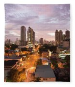 Panama City At Night Fleece Blanket