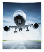 Passenger Airplane Taking Off On Runway Fleece Blanket