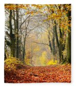Path Of Red Leaves Towards Light In Fall Forest Fleece Blanket