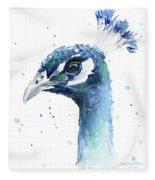 Peacock Watercolor Fleece Blanket
