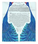 Peacocs Ketubah Fleece Blanket