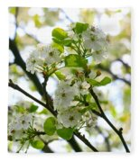 Pear Tree Blossoms Fleece Blanket