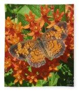 Pearly Crescentspot Butterfly Fleece Blanket
