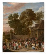 Peasants Dancing And Feasting Fleece Blanket