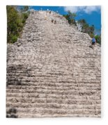 People Climbing Nohoch Mul At The Coba Ruins  Fleece Blanket
