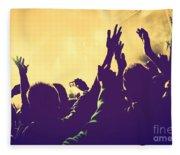 People With Hands Up In Night Club Fleece Blanket