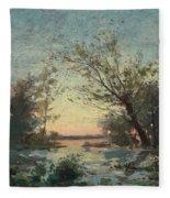 Per Ekstrom, French Landscape In Sunset. Fleece Blanket