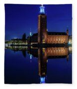 Perfect Stockholm City Hall Blue Hour Reflection Fleece Blanket