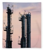 Petrochemical Plant Industry Zone Twilight Fleece Blanket