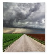 Pick A Side - Colorful Fields Divided By Road On Stormy Day In Oklahoma. Fleece Blanket