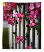 Picket Fence Roses Fleece Blanket