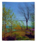 Picnic Table By The Lake Fleece Blanket