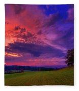 Picturesque Rural Sunset Fleece Blanket