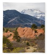 Pikes Peak From Red Rocks Canyon Fleece Blanket