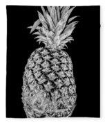 Pineapple Isolated On Black Fleece Blanket