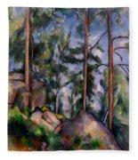 Pines And Rocks Fleece Blanket