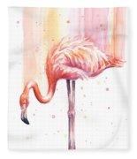 Pink Flamingo Watercolor Rain Fleece Blanket