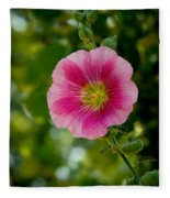 Pink Hollyhock Fleece Blanket