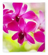 Pink Orchid Lei Fleece Blanket