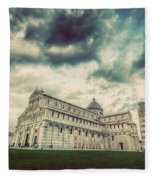 Pisa Cathedral With The Leaning Tower Of Pisa, Tuscany, Italy. Vintage Fleece Blanket