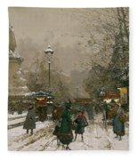 Place De La Republique In Winter Fleece Blanket