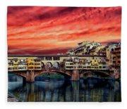 Ponte Vecchio Bridge Fleece Blanket