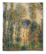 Poplars At Giverny, Sunrise Fleece Blanket