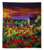 Poppies In Foy Fleece Blanket