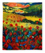 Poppies In Tuscany Fleece Blanket