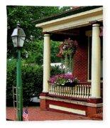 Porch With Hanging Plants Fleece Blanket