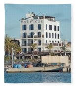 Portixol Marina Moored Boats Fleece Blanket