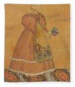 Portrait Of A Girl On A Patterned Carpet Fleece Blanket