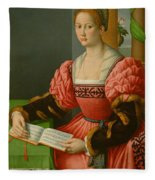 Portrait Of A Woman With A Book Of Music Fleece Blanket