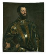 Portrait Of Alfonso D'avalos Marquis Of Vasto In Armor With A Page Fleece Blanket