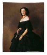 Portrait Of Princess Bariatinskaya Franz Xavier Winterhalter Fleece Blanket