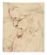 Portrait Of Samuel Palmer Head And Shoulders Fleece Blanket