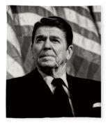 President Ronald Reagan Speaking - 1982 Fleece Blanket
