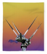 Psychedelic Metal Sculpture Of Two Swans Flying Fleece Blanket