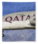 Qatar Airlines Airbus A380 Art Fleece Blanket