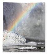Rainbow Over Skogarfoss Waterfall Fleece Blanket
